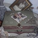 vintage ékszertartó doboz virággal, alapanyaga: fa  két részes, felső része fakkok...