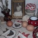 húsvéti függődíszek vidéki hangulatban, Dekoráció, Otthon, lakberendezés, Húsvéti díszek, Ünnepi dekoráció, 3 db. húsvéti függődísz, melyek kedves díszei lehetnek lakásodnak az ünnep idején. Egy vázában, faág..., Meska