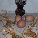 nyuszis húsvéti függődíszek, Dekoráció, Húsvéti díszek, Baba-mama-gyerek, Ünnepi dekoráció, 3 db. húsvéti függődísz, melyek kedves díszei lehetnek lakásodnak az ünnep idején. Egy vázában, faág..., Meska