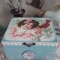 kislány madárral - nosztalgia doboz, A doboz mérete: 16 cm. x 14 cm. x  8 cm.  A posta...