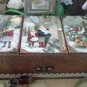 """három fakkos karácsonyi nosztalgia doboz,  """"Lehalkul a város zaja karácsony estére. Melen..."""
