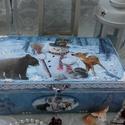 """erdei állatok és a hóember - karácsonyi doboz, """"Mindössze csak az a vágyam: hóból legyen puha..."""