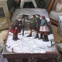 """madáretetés- karácsonyi nosztalgia doboz, Dekoráció, Ünnepi dekoráció, Karácsonyi, adventi apróságok, Karácsonyi dekoráció,  """"Kéksapkájú cinegének igen nagy a gondja, nehezen kerül ebédje téli zimankóban.""""  Nagyon sok szép k..., Meska"""