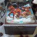 """lovasszánnal szenteste - karácsonyi nosztalgia doboz, Otthon, lakberendezés, Dekoráció, Tárolóeszköz, Doboz, """"Karácsonykor fényesek a felhők, csillagokból horgol a tél kendőt. Ráteríti hegyek tetejére, fenyőág..., Meska"""