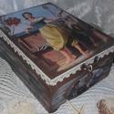 lány a hajón - nosztalgia doboz, Otthon, lakberendezés, Ékszer, Tárolóeszköz, Doboz, A doboz alapanyaga fa, tartóssága érdekében több soron lakkozott. Mérete: 21 cm. x 16 cm. x 9 cm. Fo..., Meska