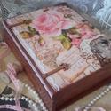 rózsa a kedvence volt - rózsás könyvdoboz, Dekoráció, Otthon, lakberendezés, Tárolóeszköz, Doboz, Alapanyaga: fa Mérete: 24 cm x 20 cm. x 7,5 cm.  Nagy szeretettel készítettem ezt a rózsás könyvdobo..., Meska