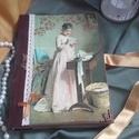 romantikus napló, Baba-mama-gyerek, Naptár, képeslap, album, Otthon, lakberendezés, Jegyzetfüzet, napló, Könyvkötővel köttetett, A5-ös méretű, natúr , nosztalgia hatású , sima, natúr lapokból álló, kb. 80 ..., Meska