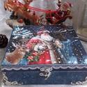 Indul a Mikulás - karácsonyi nosztalgia doboz, Dekoráció, Otthon, lakberendezés, Tárolóeszköz, Doboz, 2018. karácsony!  A doboz alapanyaga fa, tartóssága érdekében több soron lakkozott. Mérete: 20 cm. x..., Meska