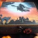 Halloween doboz, Dekoráció, Otthon, lakberendezés, Tárolóeszköz, Doboz, 2018. ősz!  A doboz alapanyaga fa, tartóssága érdekében több soron lakkozott. Mérete: 20 cm. x 20 cm..., Meska