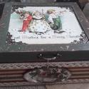 karácsonyi kincses doboz, Dekoráció, Otthon, lakberendezés, Tárolóeszköz, Doboz, 2018. karácsony!  A doboz alapanyaga fa, tartóssága érdekében több soron lakkozott. Mérete: 20 cm. x..., Meska