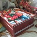 testvérek és a madarak - karácsonyi nosztalgia doboz, Otthon, lakberendezés, Tárolóeszköz, Doboz, 2018. karácsony!  A doboz alapanyaga fa, tartóssága érdekében több soron lakkozott. Mérete: 24 cm. x..., Meska
