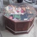 Mikulásos nyolcszögletű doboz, Dekoráció, Otthon, lakberendezés, Tárolóeszköz, Doboz, 2018. karácsony!  A doboz alapanyaga fa, tartóssága érdekében több soron lakkozott. Mérete: 17 cm. x..., Meska