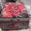 pipacsos doboz, Mérete: 21 x 16 x 9 cm. Alapanyaga fa