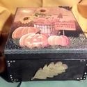 őszi doboz, Otthon, lakberendezés, Dekoráció, Tárolóeszköz, Doboz, Alapanyaga: fa Mérete: 21 x 16 x 9 cm., Meska