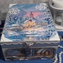 havas templom, Dekoráció, Otthon, lakberendezés, Tárolóeszköz, Doboz, A doboz alapanyaga fa, tartóssága érdekében több soron lakkozott. Mérete: 21 cm. x 16 cm. x 9 cm. Fo..., Meska