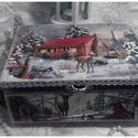 őzike a tisztáson - karácsonyi nosztalgia doboz, Dekoráció, Otthon, lakberendezés, Tárolóeszköz, Doboz, Alapanyaga: fa , mérete: 21 x 16 x 9 cm., Meska