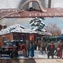 karácsonyi hazautazás - nosztalgia doboz, Alapanyaga: fa, Mérete: 23 x 13 x 8 cm.