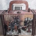 séta szenteste - nagy méretű karácsonyi bőrönd, Alapanyaga: fa, Mérete: 40 cm. x 17 cm. x 10 cm.
