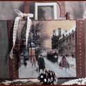 séta szenteste -  karácsonyi nosztalgia bőrönd, Dekoráció, Karácsonyi, adventi apróságok, Otthon, lakberendezés, Ünnepi dekoráció, Karácsonyi dekoráció, Alapanyaga: fa, Mérete: 40 cm. x 17 cm. x 10 cm.  , Meska