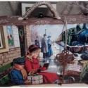 hazautazás - karácsonyi nosztalgia bőrönd, Dekoráció, Karácsonyi, adventi apróságok, Otthon, lakberendezés, Ünnepi dekoráció, Karácsonyi dekoráció, Tárolóeszköz, Alapanyaga: fa, mérete: 23 x 13 x 8 cm., Meska