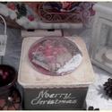 karácsonyi , búrás 3D doboz, Mérete:  14 cm. x 14 cm. x 14 cm. alapanyaga: fa ...