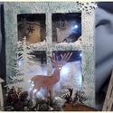 világítós karácsonyi ablak szarvassal, Dekoráció, Karácsonyi, adventi apróságok, Kép, Ünnepi dekoráció, Karácsonyi dekoráció, Mérete:  32 cm. x 25 cm. x 2 cm. Az égősor 2 db. gombelemmel működik., Meska