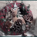 világítós őzikés ajtódísz - karácsonyi kopogtató, A koszorú átmérője: 30 cm. A világítását 2...