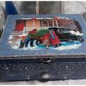 fenyőfavásár - karácsonyi nosztalgia doboz, Alapanyaga: fa, Mérete:  20,5 x  15,5 x 8,5 cm.