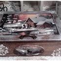 téli táj - karácsonyi nosztalgia doboz, A doboz alapanyaga: fa mérete: 20 x 15 x 6 cm.