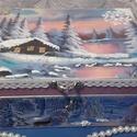 hajnali téli táj - karácsonyi nosztalgia doboz, Dekoráció, Karácsonyi, adventi apróságok, Otthon, lakberendezés, Ünnepi dekoráció, Karácsonyi dekoráció, Tárolóeszköz, A doboz alapanyaga fa, tartóssága érdekében több soron lakkozott. Mérete: 21 cm. x 16 cm. x 9 cm.  F..., Meska