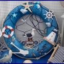 tengerészes kopogtató, Dekoráció, Otthon, lakberendezés, Dísz, Ajtódísz, kopogtató, 25 cm. átmérőjű kopogtató, mely már a nyár hangulatát idézi.  https://www.meska.hu/Shop/index/16170..., Meska