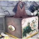 négy fakkos virágos nosztalgia kosár, Otthon, lakberendezés, Anyák napja, Tárolóeszköz, Kosár, A kosár két fakkos, fából készült, mérete: 20 cm. x 20 cm. x 23 cm. Tartóssága érdekében több soron ..., Meska