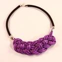 Csomózott nyaklánc - lila, Ékszer, óra, Nyaklánc, Csomózás, Tavaszváró lila nyaklánc:) Kézzel készített egyedi paracord ékszer fekete polipropilén kötéllel és ..., Meska