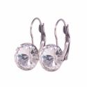 Crystal 12mm - francia kapcsos nemescél fülbevaló, Kézzel készült francia kapcsos nemesacél fülb...