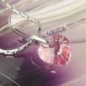 Light Rose 10mm szív - nemesacél karlánc, Light Rose színű Swarovski szív kézzel készü...
