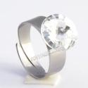 Crystal12mm - nemesacél gyűrű, Kézzel készült állítható nemesacél gyűrű ...