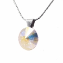 Crystal Ab 12mm - nemesacél medál, Kézzel készült medál, Crystal Ab színű Swaro...