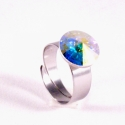 Crystal Ab 12mm - nemesacél gyűrű, Kézzel készült állítható nemesacél gyűrű ...