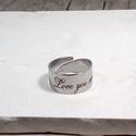 Nemesacél gravírozott gyűrű - Love you more, Ékszer, Gyűrű, Nemesacél, állítható, gravírozott gyűrű - Love you more - felírattal, Meska