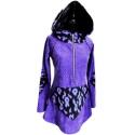 Lila kenguruzsebes felső, Ruha, divat, cipő, Női ruha, Felsőrész, póló, Ruha, Fekete lila mintás kötött anyaggal kombinált lila plüss felső, elől egy lila zippzár található, amel..., Meska