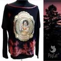 Vintage printes felső, Ruha, divat, cipő, Női ruha, Ruha, Fekete rózsaszínes bordó batikolt pamut lycra alapon digitális print, nyakán és az ujjánál koptatott..., Meska
