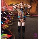 'Juanita' zsebes ruha, Ruha, divat, cipő, Női ruha, Ruha, Mintás viszkóz alapon mexikói lány digitális pamut print, amelyet fekete flittersor keretez. Ny..., Meska