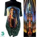 'Juanita' zsebes ruha, Ruha, divat, cipő, Női ruha, Ruha, Mintás viszkóz alapon mexikói lány digitális pamut print. Nyakán és az ujja alján fekete ala..., Meska