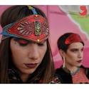 'ORGANICULUM' fejdísz, Ékszer, Hímzett bőr fejdísz, szegecsekkel, rátétekkel, műanyag cabochonnal, gumipánttal., Meska