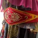 Hímzett gumis öv, Ruha, divat, cipő, Öv, Metál piros és sárga kecskebőr alapon színátmenetes lurex hímzés, görög motívum, bőrrel bélelve, pir..., Meska