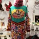 'Ötórai tea' macskás zsebes felső, Ruha, divat, cipő, Női ruha, Ruha, Digitális print rátét a batikolt türkiz és mintás kissé strech pamut finom futter, hurkolt anyagkomb..., Meska