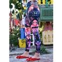 Ásványos printelt leggings, Ruha, divat, cipő, Női ruha, Nadrág, A leggings alapanyaga digitális printelt polyester. A második fotón a derekán lévő érmés textil dísz..., Meska