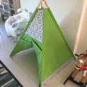 Cats Teepee sátor, Baba-mama-gyerek, Bútor, Gyerekszoba, Gyerekbútor, Varrás, A sátornál 100% egyszínű holland pamuvásznat béléssel és díszítésnek mintás (cicás) amerikai design..., Meska