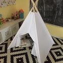 Kisméretű fehér sátor, Baba-mama-gyerek, Otthon, lakberendezés, Esküvő, Dekoráció, Varrás, Kisebb mérete miatt kicsi gyerekszobába készült. 90x90 alap, 105cm magas, 160cm lecek. Anyaga vasta..., Meska
