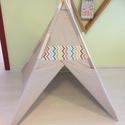 Chevron Teepee 2 szőnyeg nélkül, Baba-mama-gyerek, Dekoráció, Esküvő, Otthon, lakberendezés, 110cm oldalak, 125cm magas, lecek 180cm., Meska